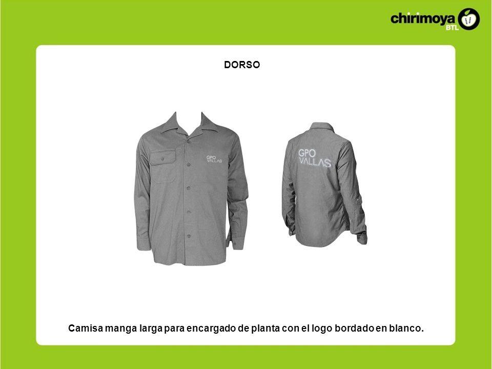 Camisa manga larga para encargado de planta con el logo bordado en blanco. DORSO
