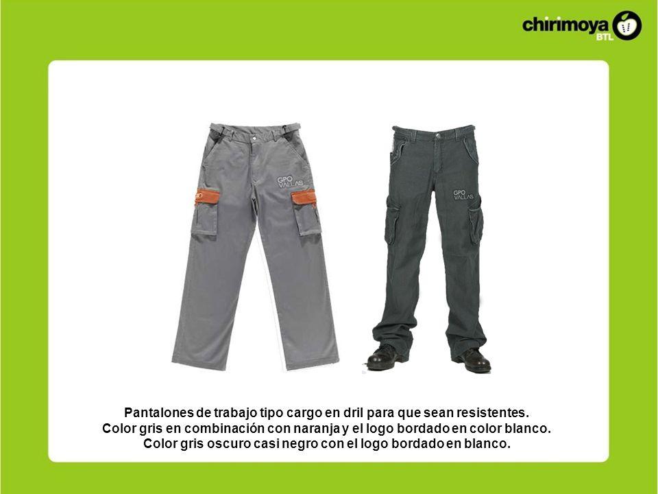 Pantalones de trabajo tipo cargo en dril para que sean resistentes. Color gris en combinación con naranja y el logo bordado en color blanco. Color gri