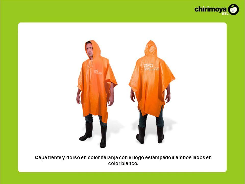 Capa frente y dorso en color naranja con el logo estampado a ambos lados en color blanco.
