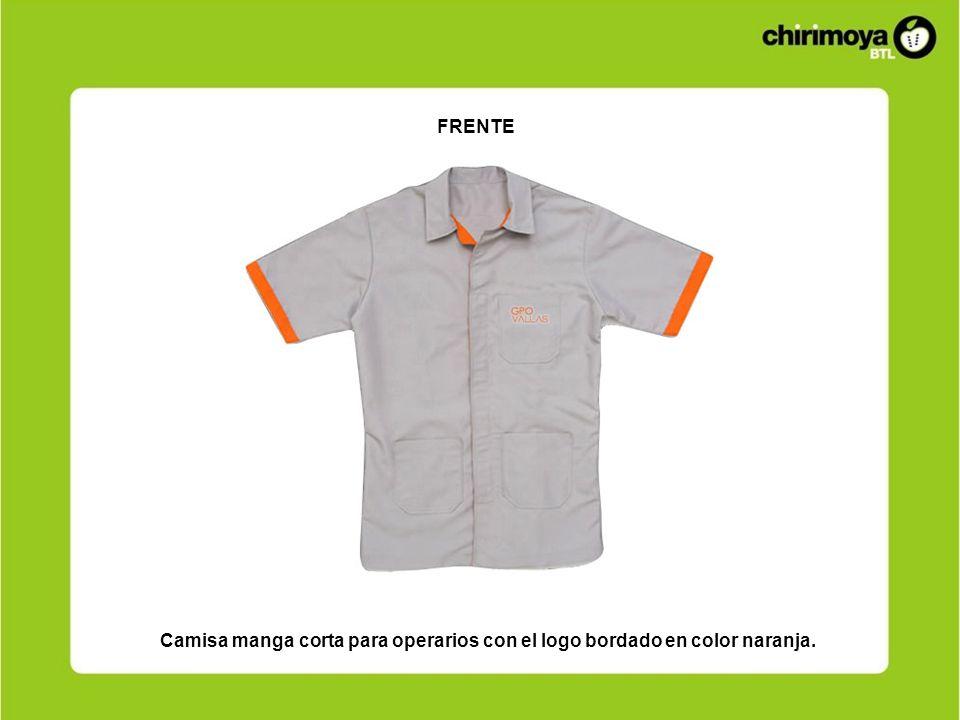 Camisa manga corta para operarios con el logo bordado en color naranja. FRENTE