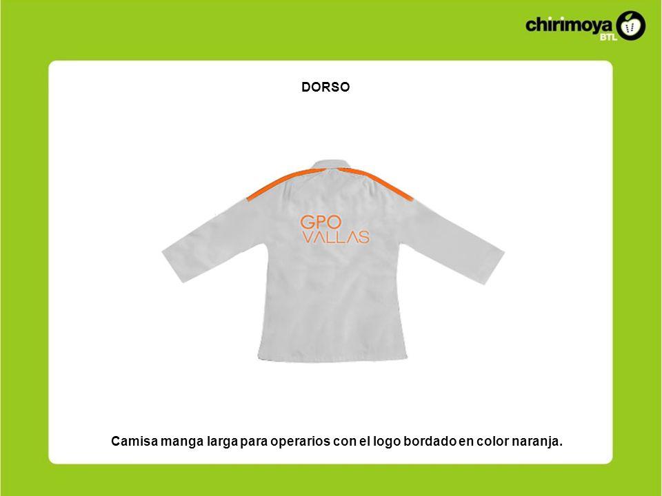 DORSO Camisa manga larga para operarios con el logo bordado en color naranja.