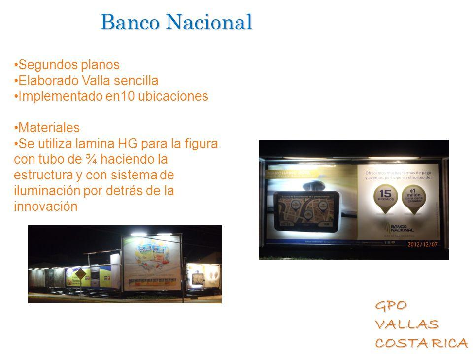 GPO VALLAS COSTA RICA Banco Nacional Segundos planos Elaborado Valla sencilla Implementado en10 ubicaciones Materiales Se utiliza lamina HG para la fi