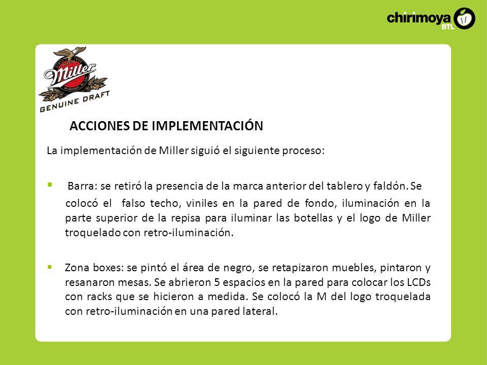 ACCIONES DE IMPLEMENTACIÓN La implementación de Miller siguió el siguiente proceso: Barra: se retiró la presencia de la marca anterior del tablero y faldón.