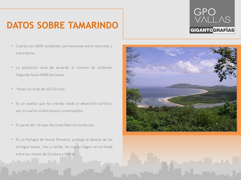 DATOS SOBRE TAMARINDO Cuenta con 2000 residentes permanentes entre naturales y extranjeros.