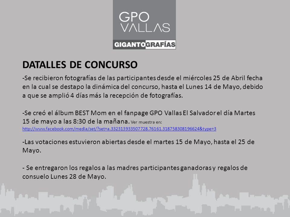 DATALLES DE CONCURSO -Se recibieron fotografías de las participantes desde el miércoles 25 de Abril fecha en la cual se destapo la dinámica del concurso, hasta el Lunes 14 de Mayo, debido a que se amplió 4 días más la recepción de fotografías.