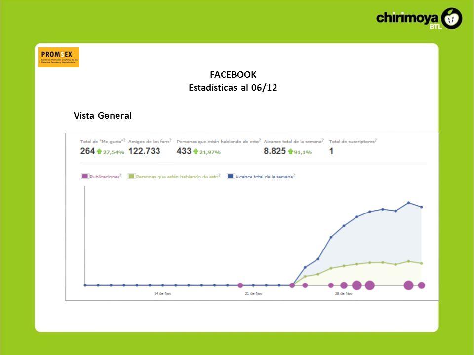 FACEBOOK Estadísticas al 06/12 Vista General