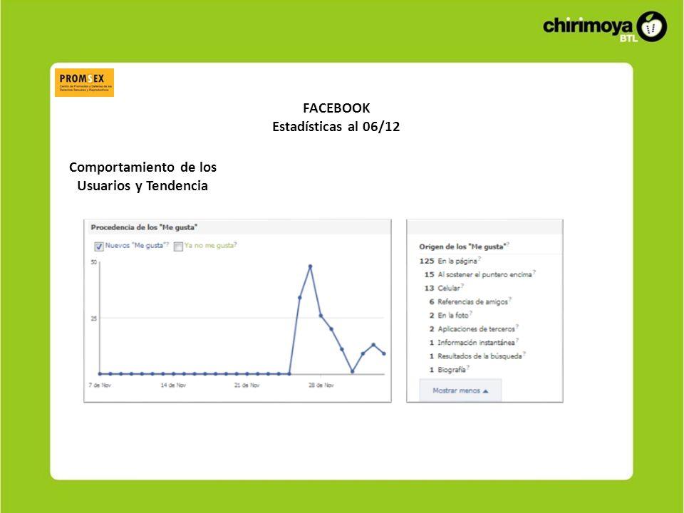 FACEBOOK Estadísticas al 06/12 Comportamiento de los Usuarios y Tendencia