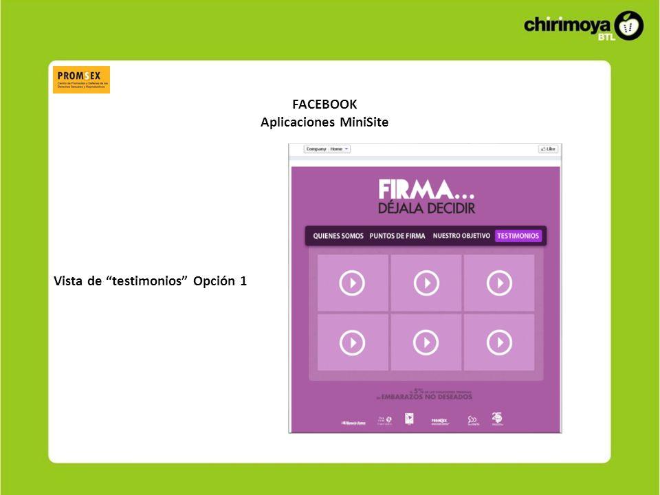 FACEBOOK Aplicaciones MiniSite Vista de testimonios Opción 1