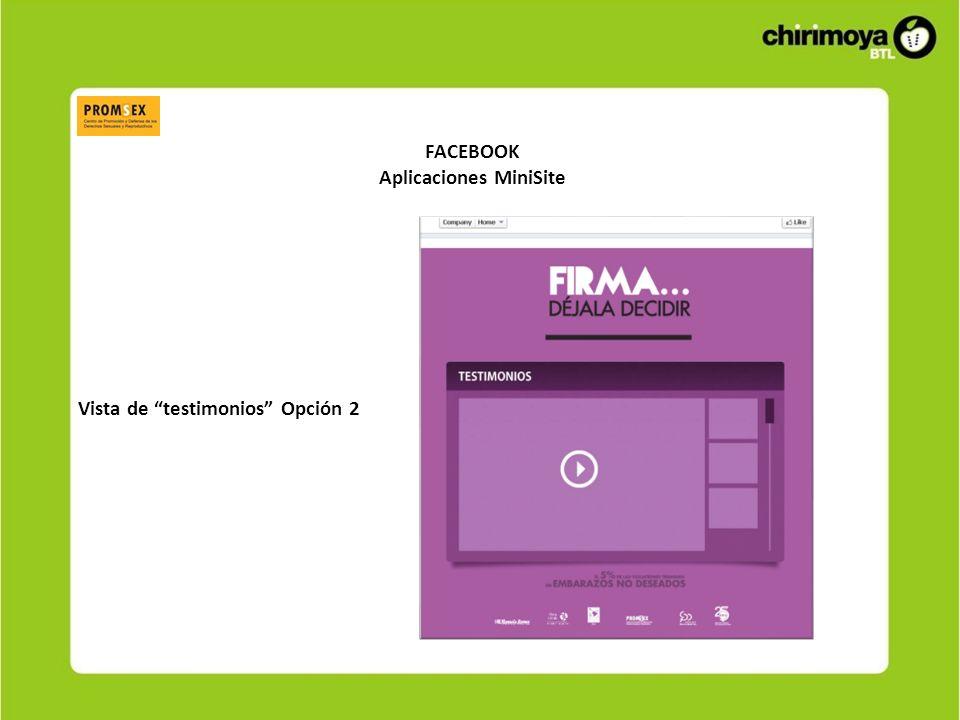 FACEBOOK Aplicaciones MiniSite Vista de testimonios Opción 2