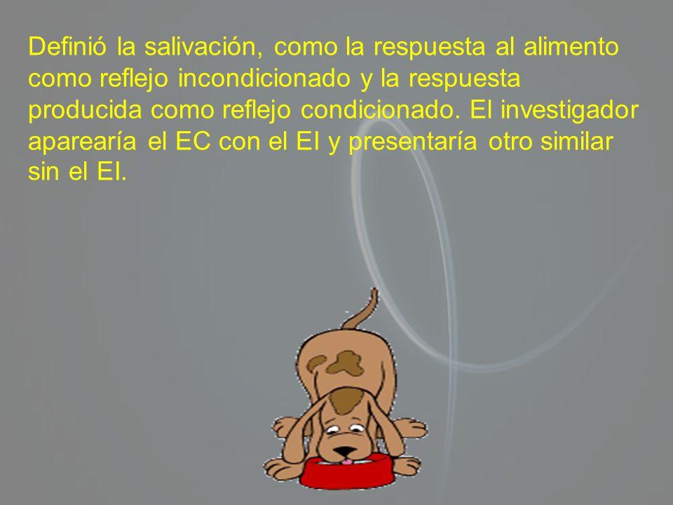 Definió la salivación, como la respuesta al alimento como reflejo incondicionado y la respuesta producida como reflejo condicionado. El investigador a