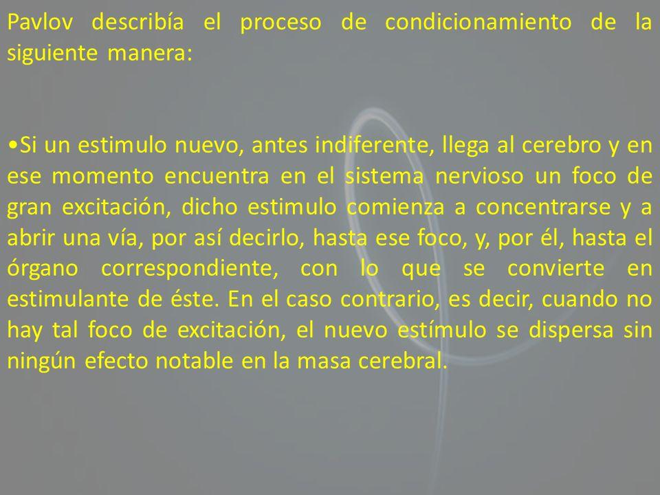 Pavlov describía el proceso de condicionamiento de la siguiente manera: Si un estimulo nuevo, antes indiferente, llega al cerebro y en ese momento enc