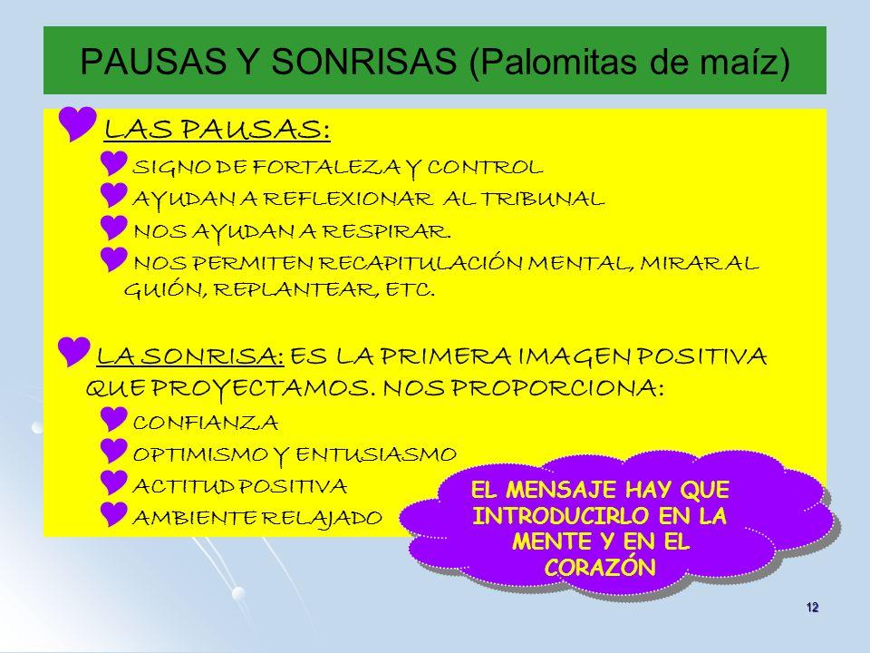 12 PAUSAS Y SONRISAS (Palomitas de maíz) LAS PAUSAS: SIGNO DE FORTALEZA Y CONTROL AYUDAN A REFLEXIONAR AL TRIBUNAL NOS AYUDAN A RESPIRAR. NOS PERMITEN