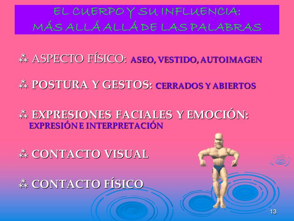 13 EL CUERPO Y SU INFLUENCIA: MÁS ALLÁ ALLÁ DE LAS PALABRAS ASPECTO FÍSICO: ASEO, VESTIDO, AUTOIMAGEN ASPECTO FÍSICO: ASEO, VESTIDO, AUTOIMAGEN POSTUR