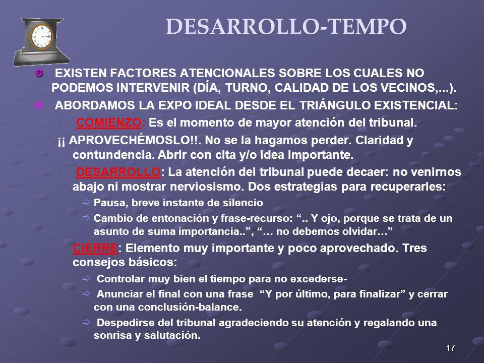 17 DESARROLLO-TEMPO EXISTEN FACTORES ATENCIONALES SOBRE LOS CUALES NO PODEMOS INTERVENIR (DÍA, TURNO, CALIDAD DE LOS VECINOS,...). ABORDAMOS LA EXPO I