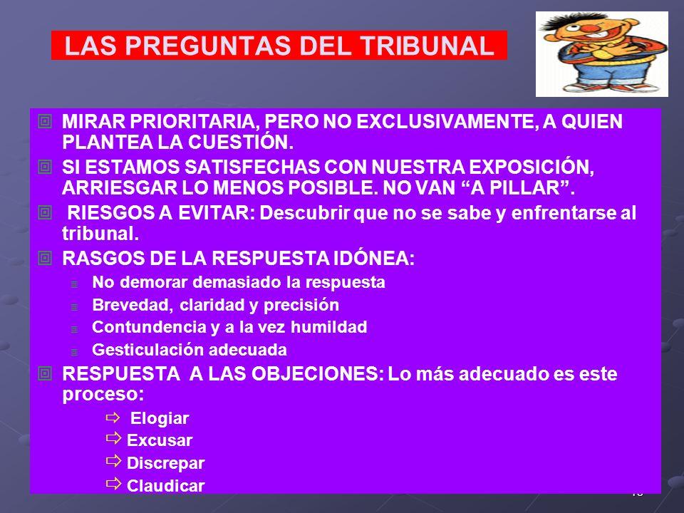 18 LAS PREGUNTAS DEL TRIBUNAL MIRAR PRIORITARIA, PERO NO EXCLUSIVAMENTE, A QUIEN PLANTEA LA CUESTIÓN. SI ESTAMOS SATISFECHAS CON NUESTRA EXPOSICIÓN, A