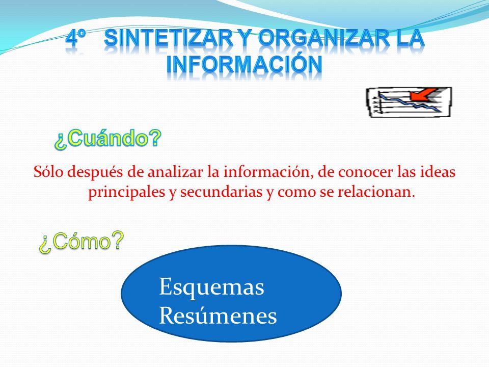Sólo después de analizar la información, de conocer las ideas principales y secundarias y como se relacionan.