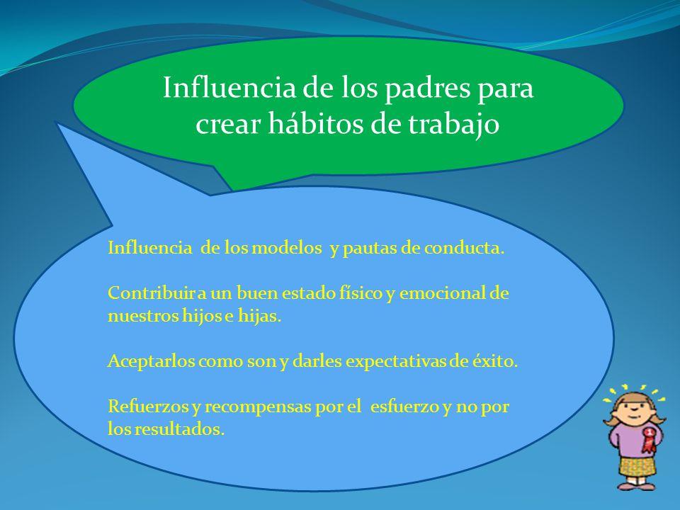 Influencia de los padres para crear hábitos de trabajo Influencia de los modelos y pautas de conducta. Contribuir a un buen estado físico y emocional