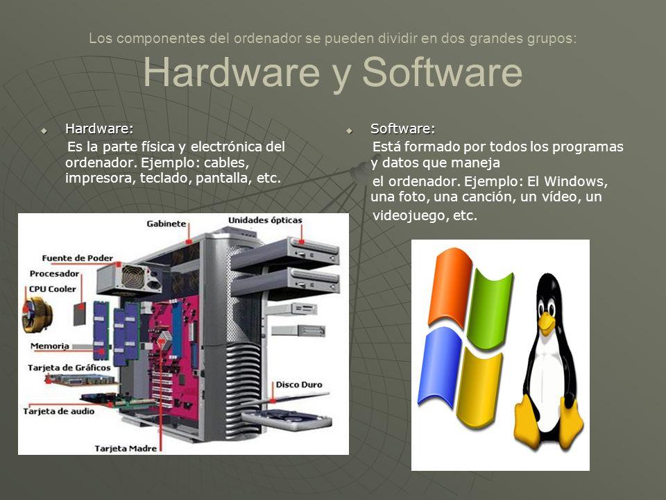 Los componentes del ordenador se pueden dividir en dos grandes grupos: Hardware y Software Hardware: Hardware: Es la parte física y electrónica del or