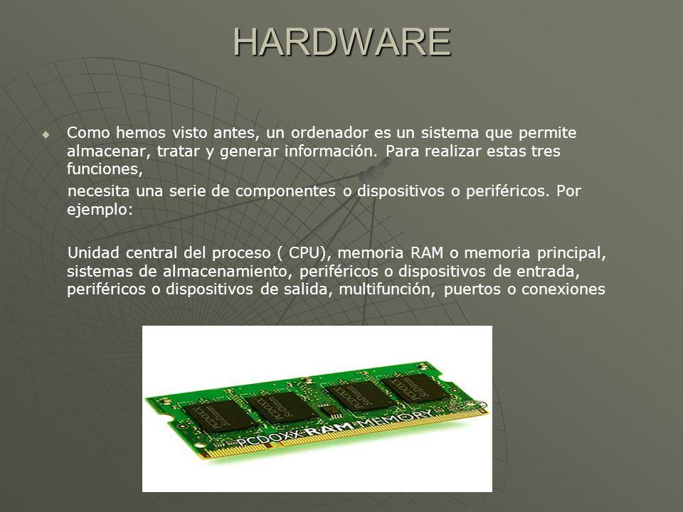 HARDWARE Como hemos visto antes, un ordenador es un sistema que permite almacenar, tratar y generar información. Para realizar estas tres funciones, n
