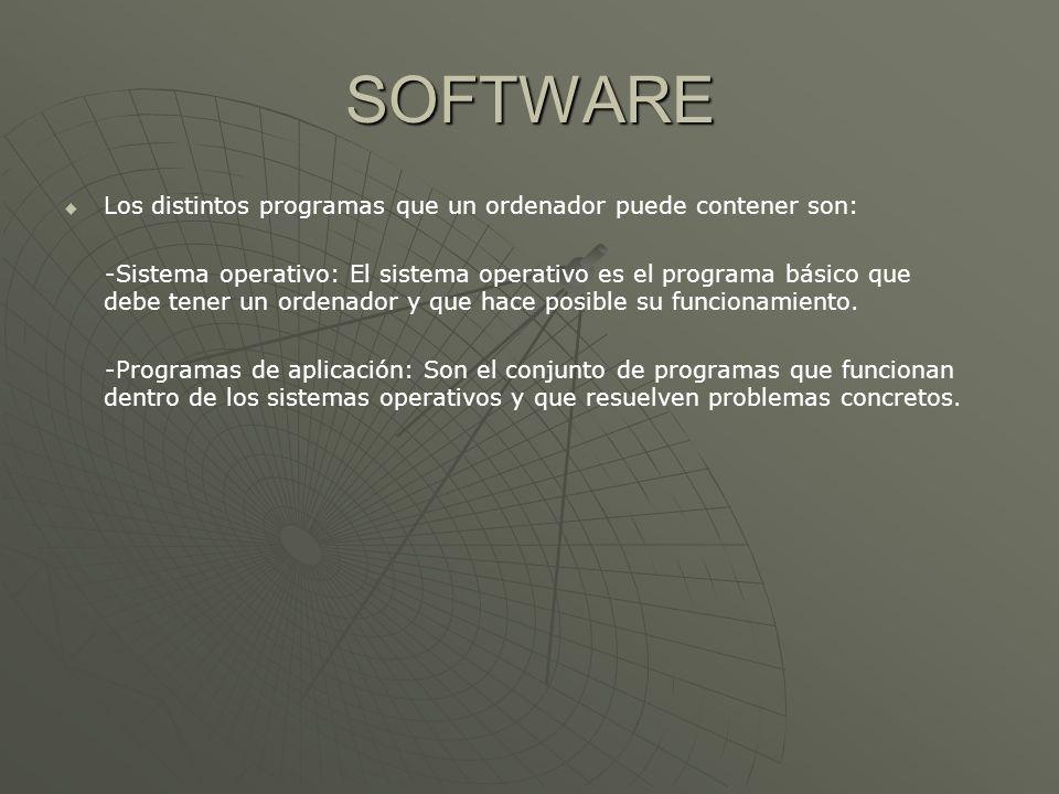 SOFTWARE Los distintos programas que un ordenador puede contener son: -Sistema operativo: El sistema operativo es el programa básico que debe tener un