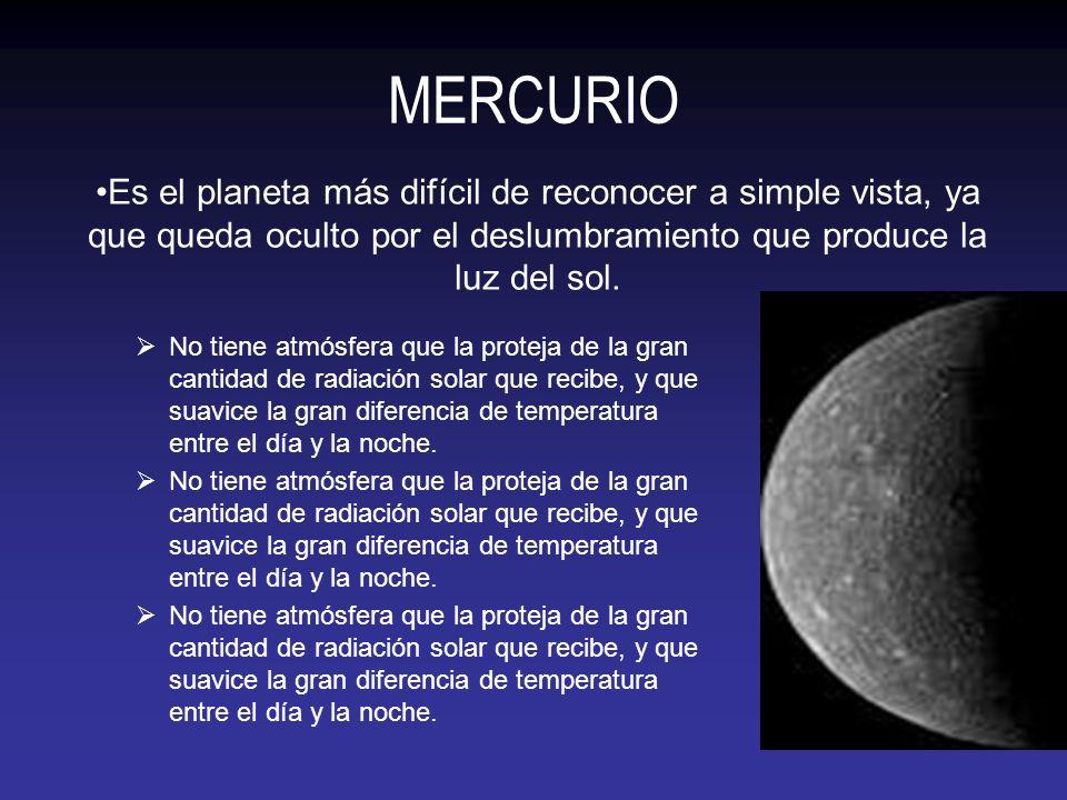 MERCURIO No tiene atmósfera que la proteja de la gran cantidad de radiación solar que recibe, y que suavice la gran diferencia de temperatura entre el