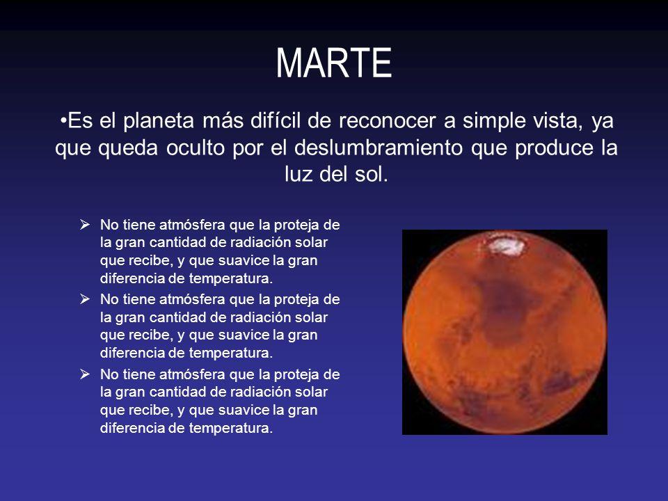 MARTE No tiene atmósfera que la proteja de la gran cantidad de radiación solar que recibe, y que suavice la gran diferencia de temperatura. Es el plan
