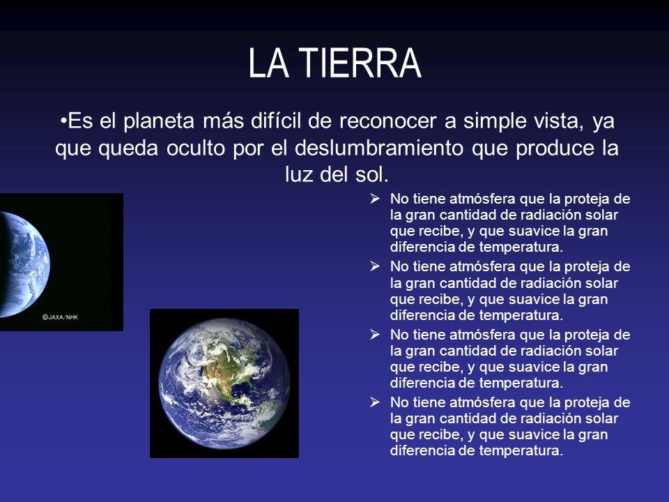 LA TIERRA No tiene atmósfera que la proteja de la gran cantidad de radiación solar que recibe, y que suavice la gran diferencia de temperatura. Es el