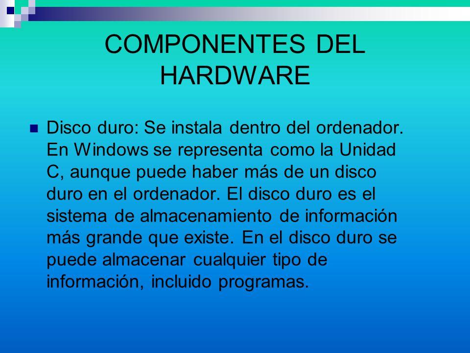 COMPONENTES DEL HARDWARE Disco duro: Se instala dentro del ordenador.