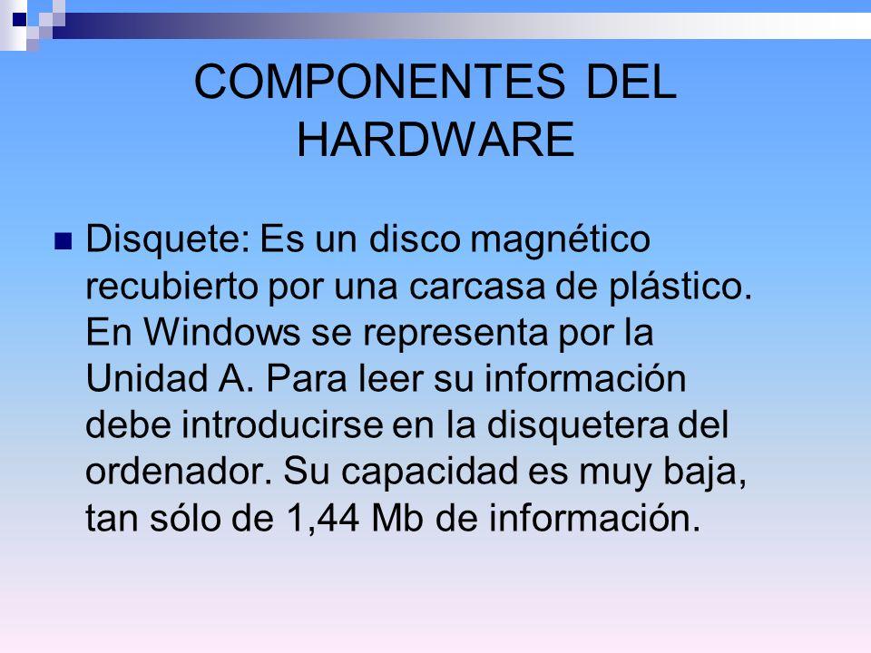 COMPONENTES DEL HARDWARE Disquete: Es un disco magnético recubierto por una carcasa de plástico.