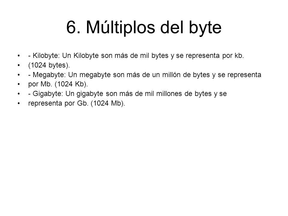 6. Múltiplos del byte - Kilobyte: Un Kilobyte son más de mil bytes y se representa por kb. (1024 bytes). - Megabyte: Un megabyte son más de un millón
