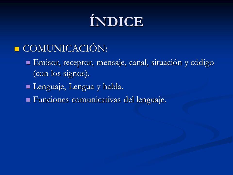 ÍNDICE COMUNICACIÓN: COMUNICACIÓN: Emisor, receptor, mensaje, canal, situación y código (con los signos). Emisor, receptor, mensaje, canal, situación