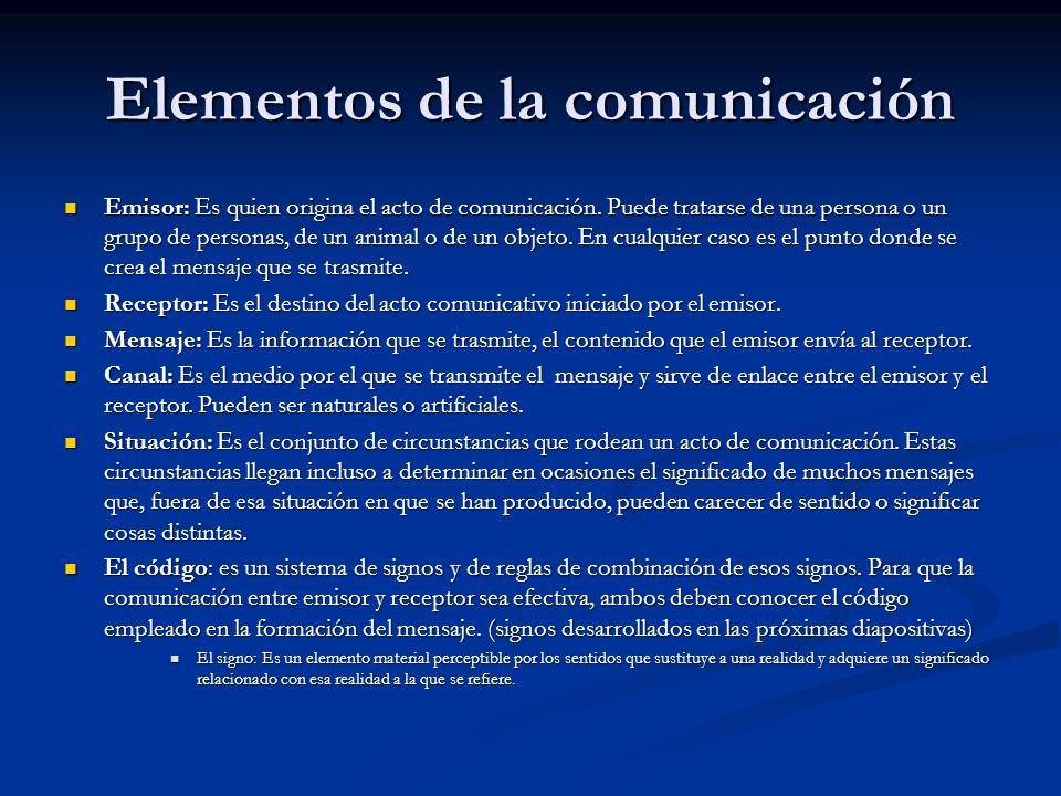 Elementos de la comunicación Emisor: Es quien origina el acto de comunicación. Puede tratarse de una persona o un grupo de personas, de un animal o de