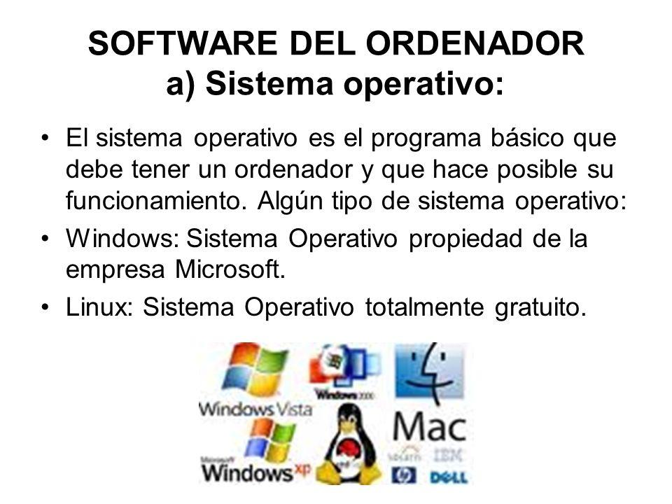 SOFTWARE DEL ORDENADOR a) Sistema operativo: El sistema operativo es el programa básico que debe tener un ordenador y que hace posible su funcionamiento.
