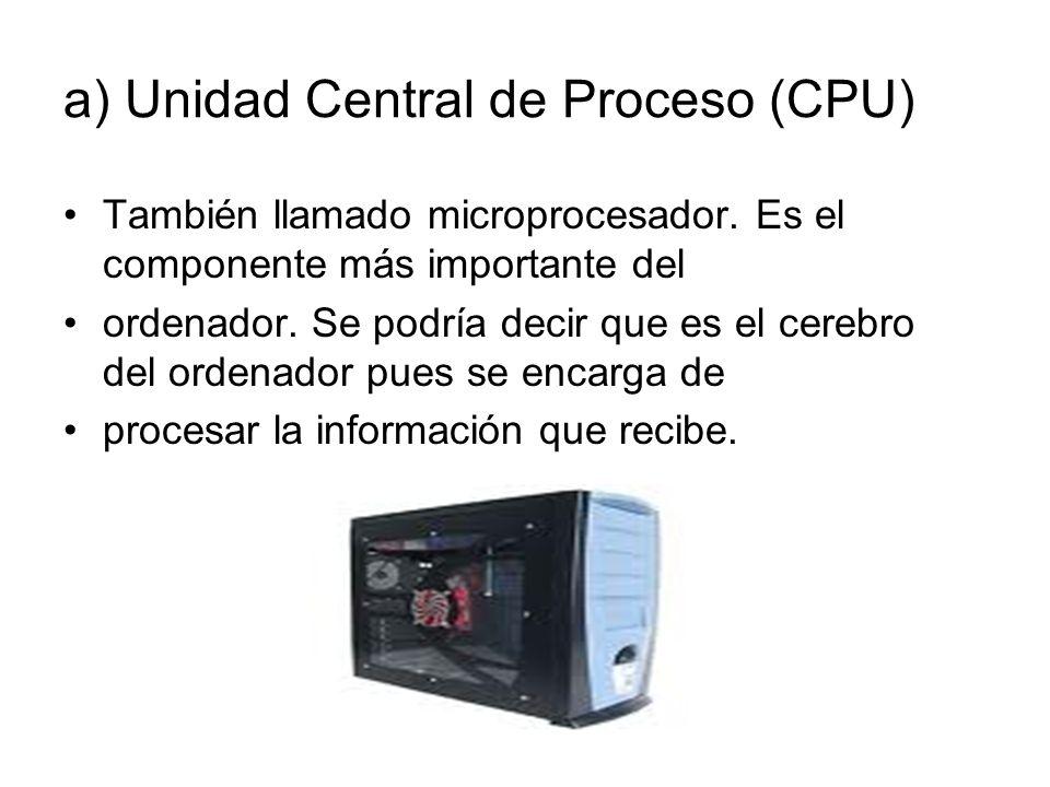 a) Unidad Central de Proceso (CPU) También llamado microprocesador.