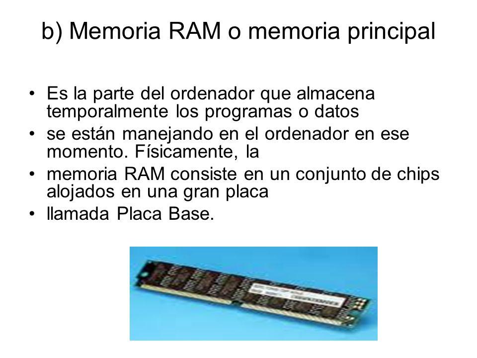 b) Memoria RAM o memoria principal Es la parte del ordenador que almacena temporalmente los programas o datos se están manejando en el ordenador en ese momento.
