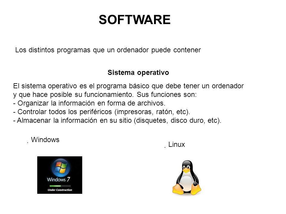 Programas de aplicación Son el conjunto de programas que funcionan dentro de los sistemas operativos y que resuelven problemas concretos.