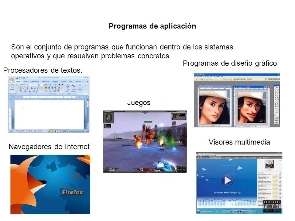 Programas de aplicación Son el conjunto de programas que funcionan dentro de los sistemas operativos y que resuelven problemas concretos. Procesadores