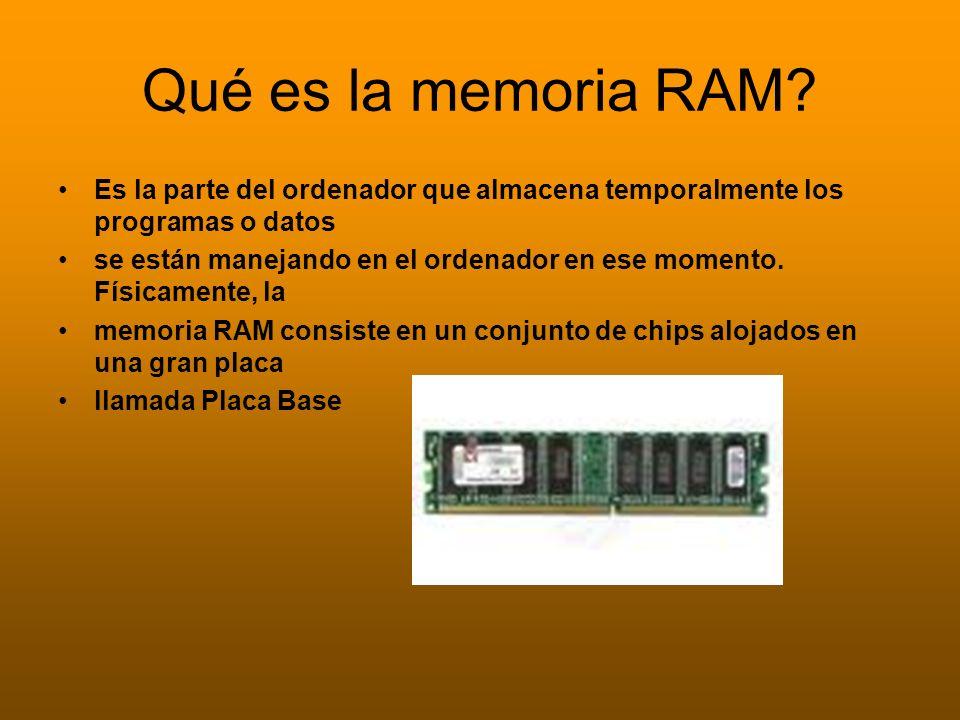 Qué es la memoria RAM? Es la parte del ordenador que almacena temporalmente los programas o datos se están manejando en el ordenador en ese momento. F