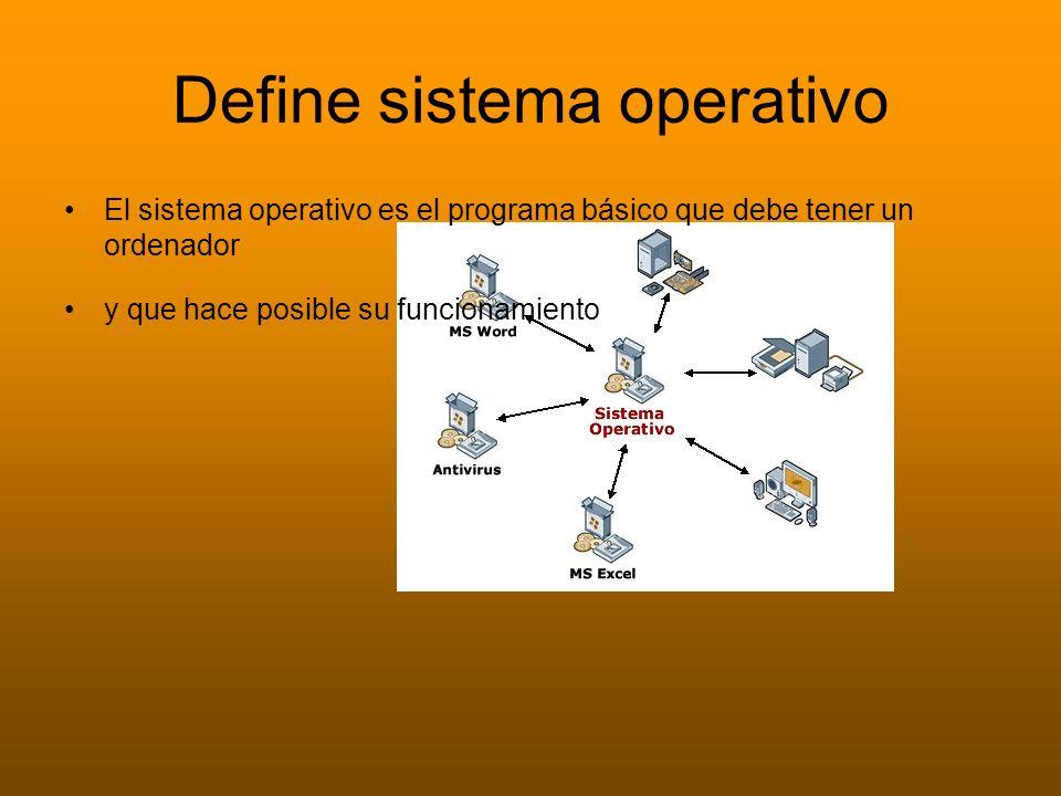 Define sistema operativo El sistema operativo es el programa básico que debe tener un ordenador y que hace posible su funcionamiento
