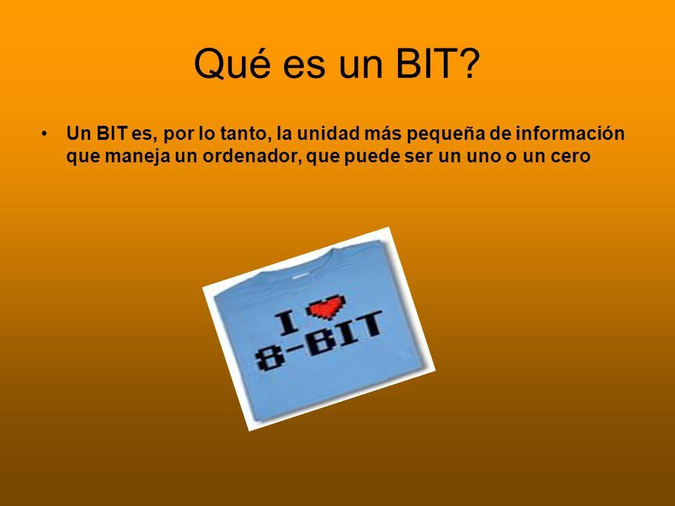 Qué es un BIT? Un BIT es, por lo tanto, la unidad más pequeña de información que maneja un ordenador, que puede ser un uno o un cero