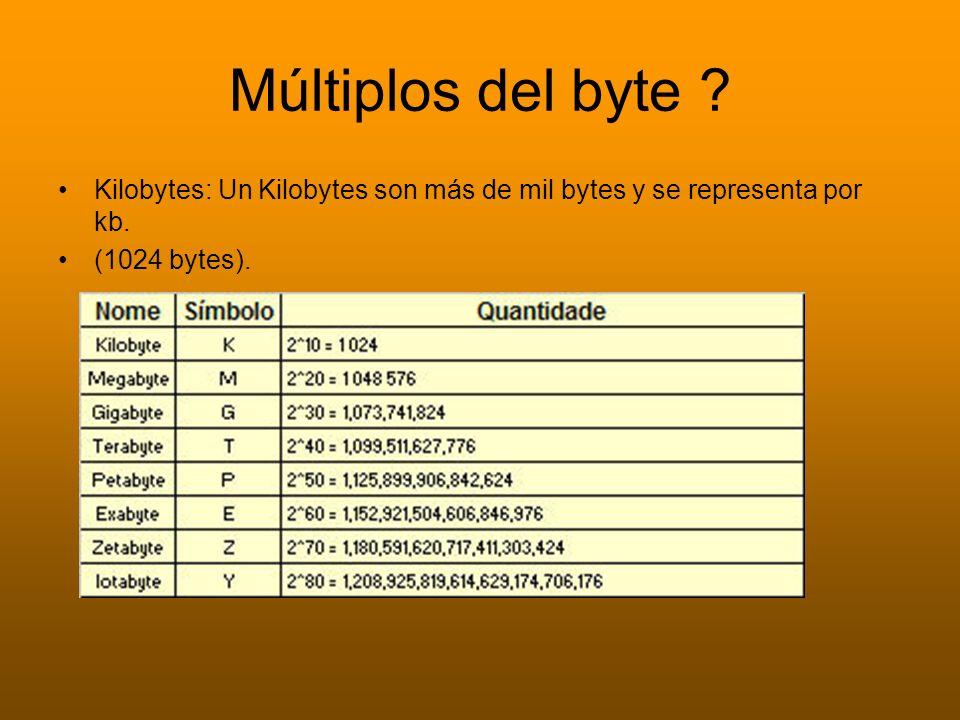 Múltiplos del byte ? Kilobytes: Un Kilobytes son más de mil bytes y se representa por kb. (1024 bytes).