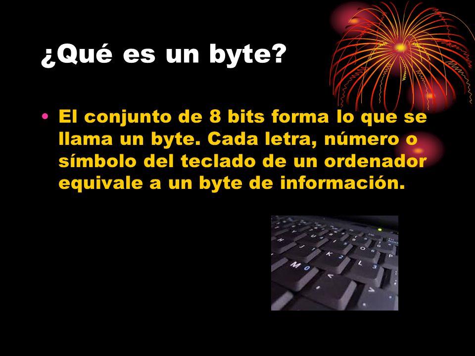 ¿Qué es un byte. El conjunto de 8 bits forma lo que se llama un byte.