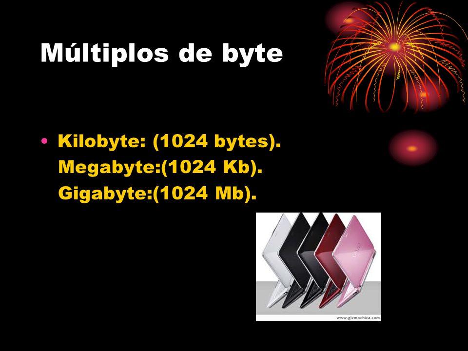 Múltiplos de byte Kilobyte: (1024 bytes). Megabyte:(1024 Kb). Gigabyte:(1024 Mb).