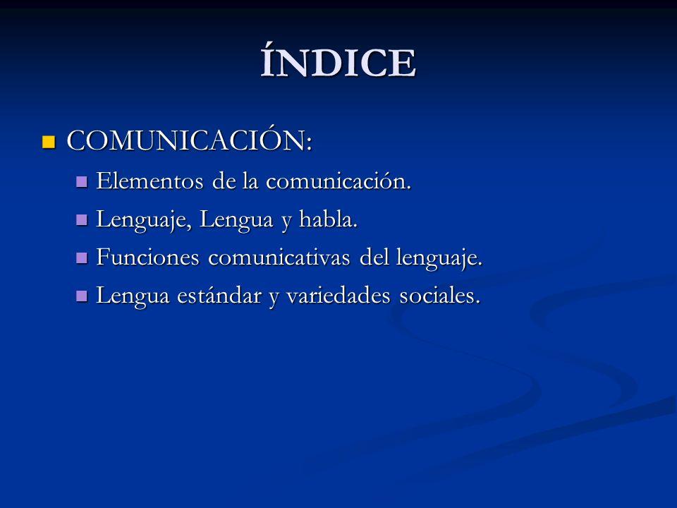 ÍNDICE COMUNICACIÓN: COMUNICACIÓN: Elementos de la comunicación. Elementos de la comunicación. Lenguaje, Lengua y habla. Lenguaje, Lengua y habla. Fun