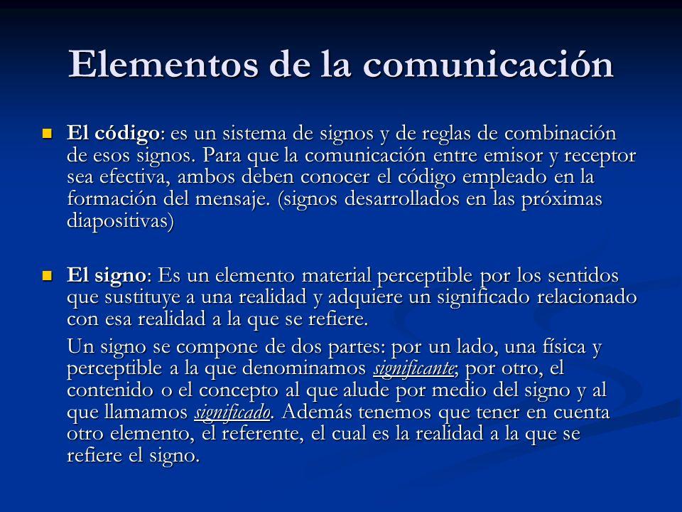 Elementos de la comunicación El código: es un sistema de signos y de reglas de combinación de esos signos. Para que la comunicación entre emisor y rec