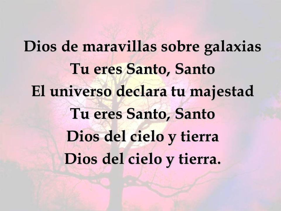 Dios de maravillas sobre galaxias Tu eres Santo, Santo El universo declara tu majestad Tu eres Santo, Santo Dios del cielo y tierra Dios del cielo y t