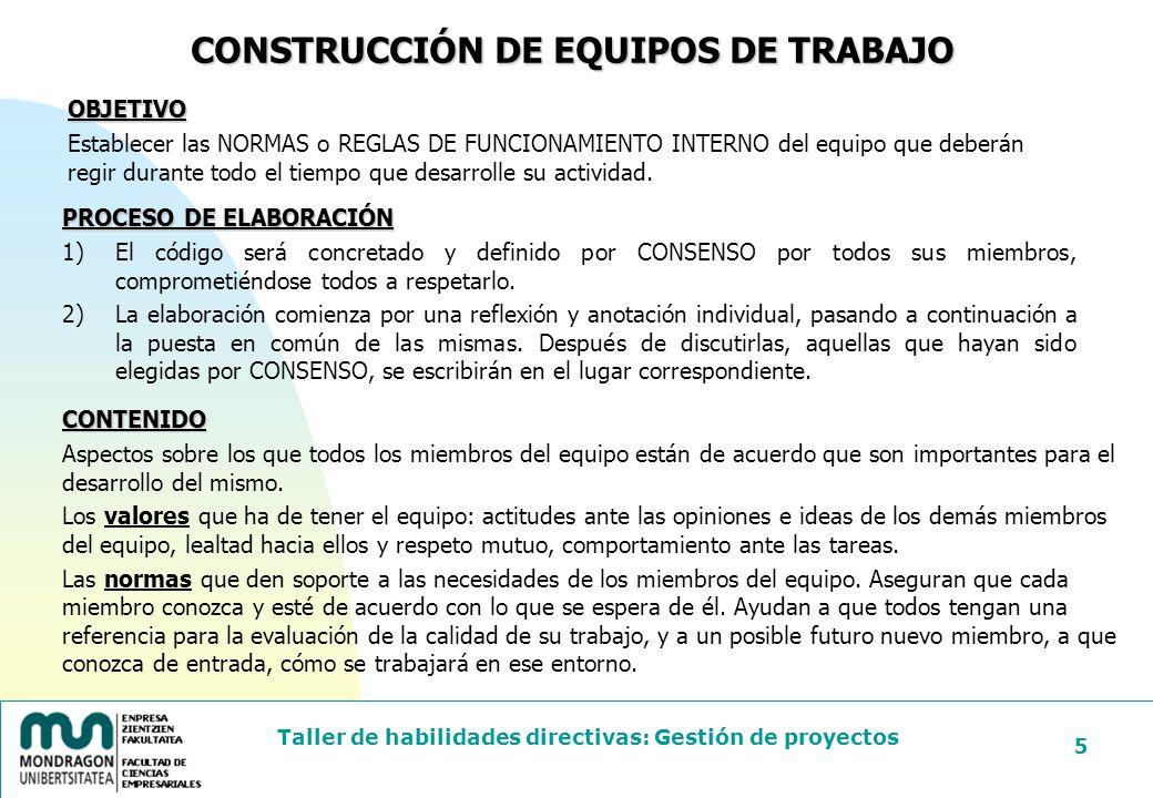 Taller de habilidades directivas: Gestión de proyectos 6 NOMBRE DEL EQUIPO: CÓDIGO DE CONDUCTA: EXPECTATIVAS: NUESTRO EQUIPO