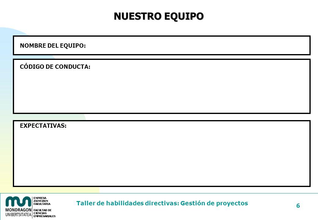 Taller de habilidades directivas: Gestión de proyectos 37 COSTE RIESGOS PRECIO DE MERCADO El presupuesto Horas directas.