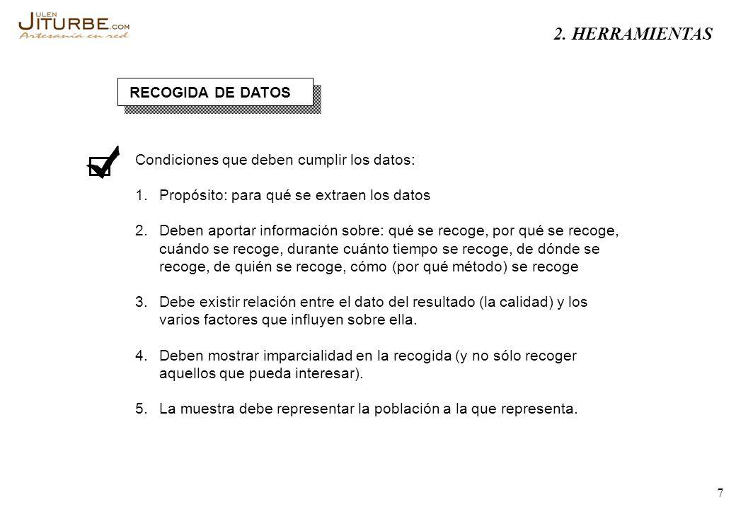 7 RECOGIDA DE DATOS Condiciones que deben cumplir los datos: 1. Propósito: para qué se extraen los datos 2. Deben aportar información sobre: qué se re