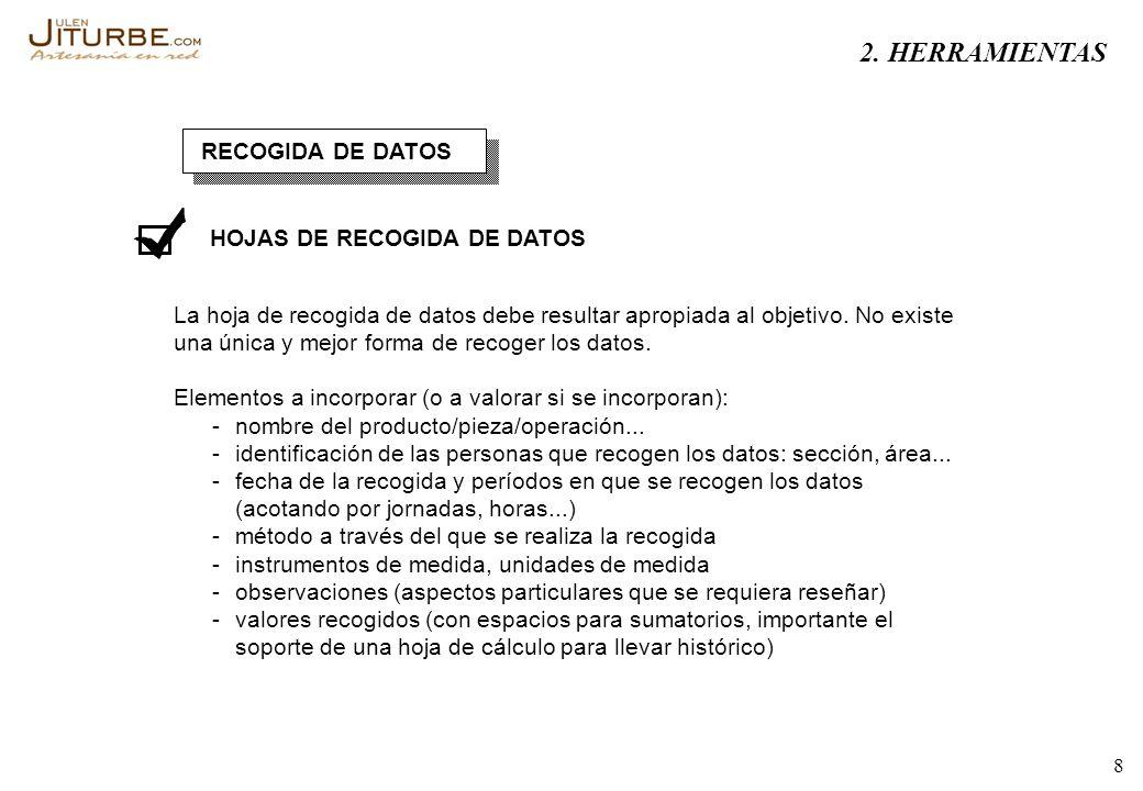 8 RECOGIDA DE DATOS HOJAS DE RECOGIDA DE DATOS La hoja de recogida de datos debe resultar apropiada al objetivo. No existe una única y mejor forma de